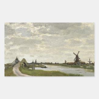 Adesivo Retangular Claude Monet - os moinhos de vento aproximam