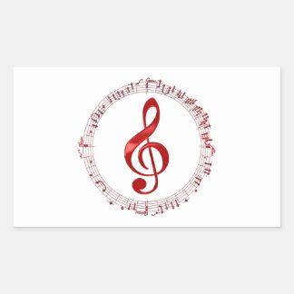 Adesivo Retangular Clef de triplo vermelho em notas da música