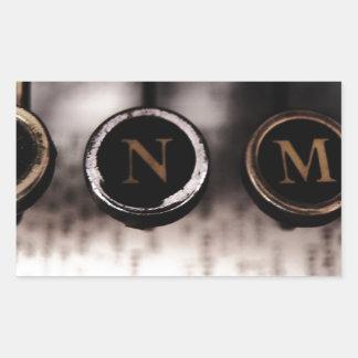 Adesivo Retangular Close up da máquina de escrever