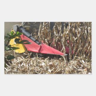 Adesivo Retangular Colheita do milho da colheita mecanizada no campo