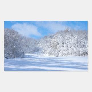 Adesivo Retangular Colinas nevado do parque de Marthaler