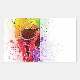 Adesivo Retangular Colorful Skull - Caveira Colorida