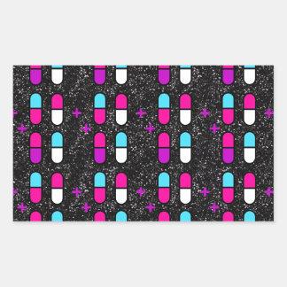 Adesivo Retangular comprimidos cor-de-rosa do brilho