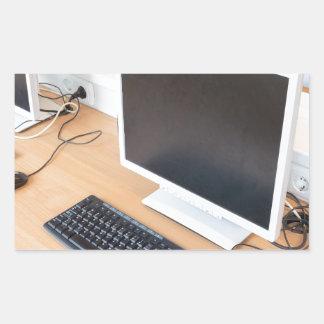 Adesivo Retangular Computador de secretária na classe do computador