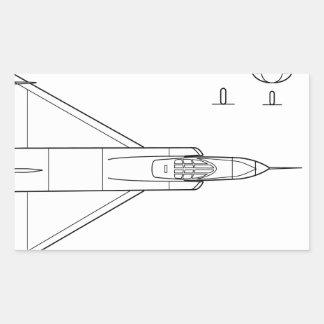 Adesivo Retangular Convair_YF-102_Delta_Dagger_3-view