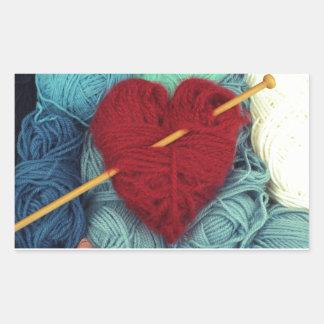 Adesivo Retangular coração bonito de lãs com a fotografia da agulha