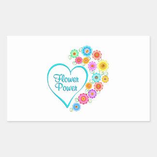Adesivo Retangular Coração de flower power