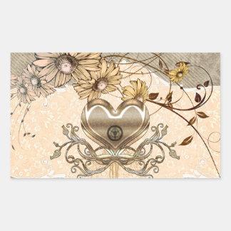 Adesivo Retangular Coração maravilhoso com flores
