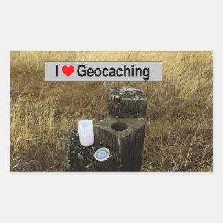 Adesivo Retangular Couro cru do cargo da cerca: Geocaching