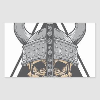 Adesivo Retangular Crânio de Viking