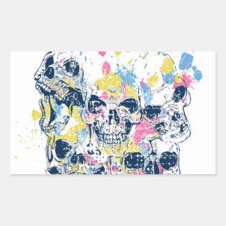 Adesivo Retangular crânios coloridos do vintage