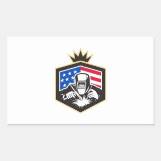 Adesivo Retangular Crista da bandeira dos EUA da soldadura de arco do
