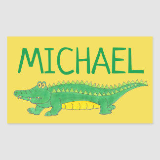 Adesivo Retangular Crocodilo verde personalizado Croc do jacaré do
