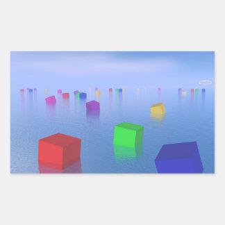 Adesivo Retangular Cubos coloridos que flutuam - 3D rendem