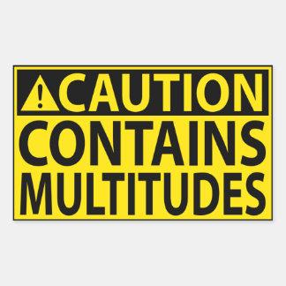 Adesivo Retangular Cuidado: Contem multidões