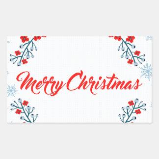 Adesivo Retangular cumprimento do Natal do Feliz Natal