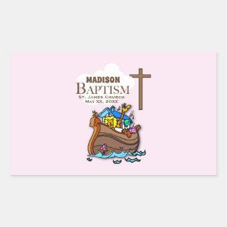 Adesivo Retangular Customizável, a arca de Noah do baptismo do bebé