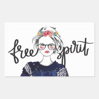 Adesivo Retangular Da moda adolescente da forma do espírito livre