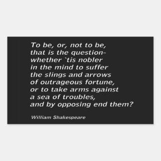 Adesivo Retangular ` De Hamlet do ` do ` s de William Shakespeare