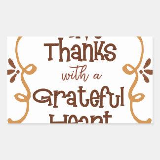 Adesivo Retangular Dê obrigados com um coração grato