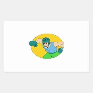 Adesivo Retangular Desenho amador do perfurador de KO do pugilista