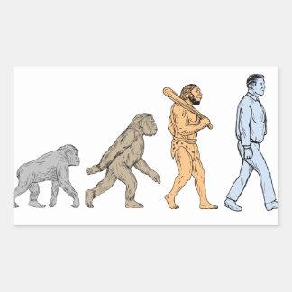 Adesivo Retangular Desenho de passeio da evolução humana