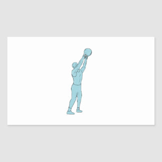 Adesivo Retangular Desenho do balanço de Kettlebell da malhação do