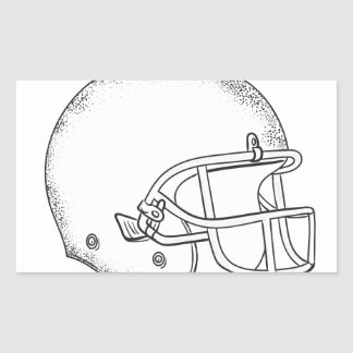 Adesivo Retangular Desenho preto e branco do capacete de futebol