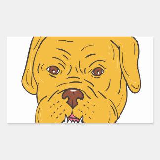Adesivo Retangular Desenhos animados da cabeça de cão do Bordéus