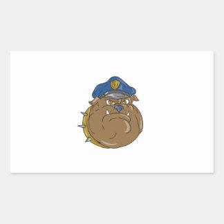Adesivo Retangular Desenhos animados da cabeça do polícia do buldogue