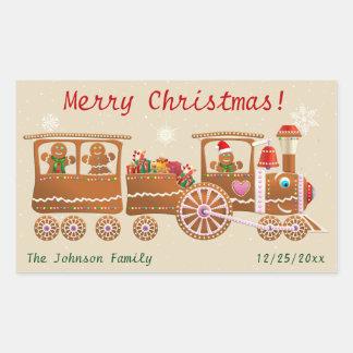 Adesivo Retangular Desenhos animados do trem do Feliz Natal dos