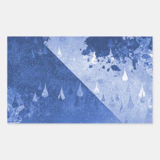 Adesivo Retangular Design azul abstrato das gotas da chuva