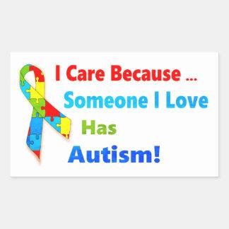 Adesivo Retangular Design da fita da consciência do autismo