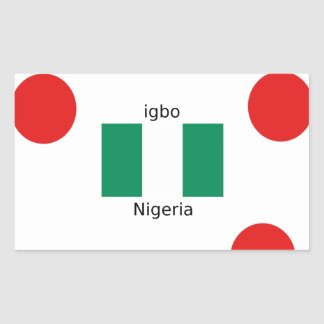 Adesivo Retangular Design da língua da bandeira e do Igbo de Nigéria