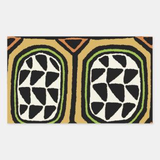 Adesivo Retangular Design de matéria têxtil de Kuba do africano