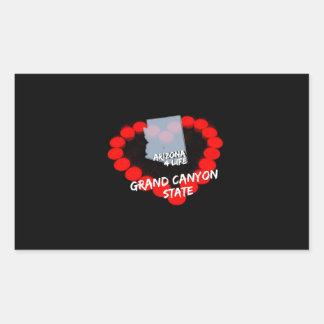 Adesivo Retangular Design do coração da vela para o estado de arizona