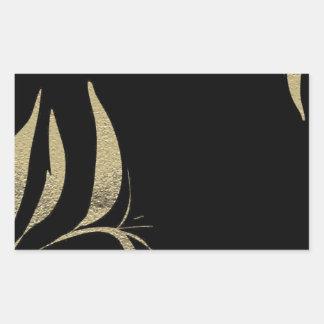 Adesivo Retangular Design do teste padrão do Flourish do preto e do