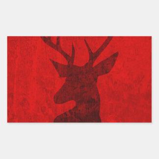Adesivo Retangular Design do veado vermelho