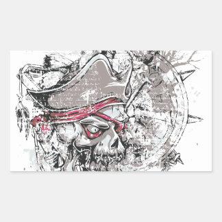 Adesivo Retangular design inoperante pirateado do vintage do crânio