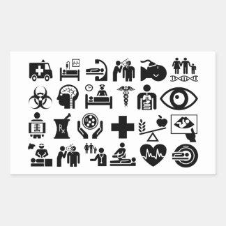 Adesivo Retangular Design preto e branco corajoso dos ícones médicos