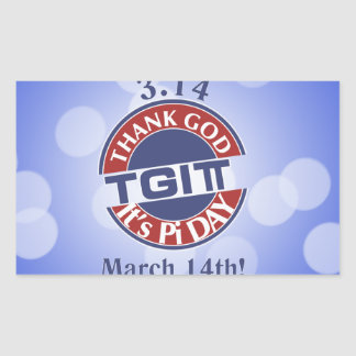 Adesivo Retangular Deus do obrigado de TGIPi seu dia logotipo