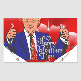 Adesivo Retangular dia dos namorados feliz Donald Trump