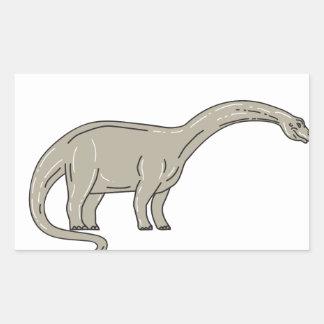 Adesivo Retangular Dinossauro do Brontosaurus que olha abaixo da mono