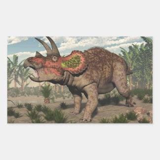 Adesivo Retangular Dinossauro do Triceratops - 3D rendem