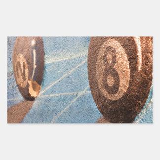 Adesivo Retangular Disparado da ilustração das bolas de bilhar na