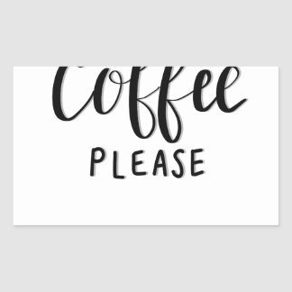 Adesivo Retangular Do CAFÉ caligrafia POR FAVOR
