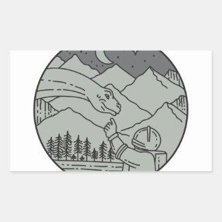 Adesivo Retangular Do círculo tocante do Brontosaurus do astronauta
