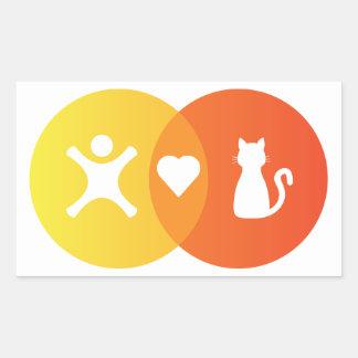 Adesivo Retangular Do coração dos gatos pessoas do diagrama de Venn