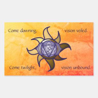 """Adesivo Retangular Do """"etiqueta de Lotus da introspecção da ioga"""