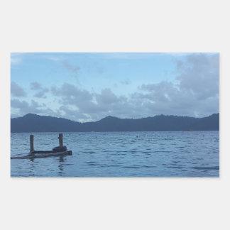 Adesivo Retangular Doca do barco da ilha